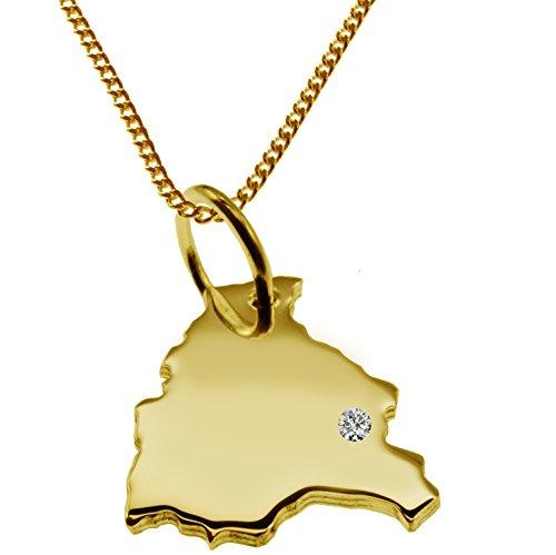 Endroit Exclusif Bolivie Carte Pendentif avec brillant à votre Désir (Position au choix.)-avec Chaîne-massif Or jaune de 585or, artisanat Allemande-585de bijoux