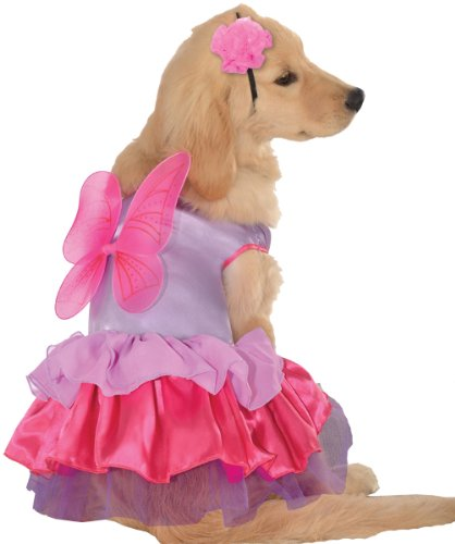 Pup Costume (Pet Costume: Pixie Pup- Medium - Product Description - Beautiful Multi-Colored And Multi-Tiered Dress-Style Costume With Wings In Back And Headpiece With Matching Flower. Fits Medium Dogs Measuring 14