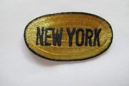 Amazon piece of gold black new york word badge embroidery