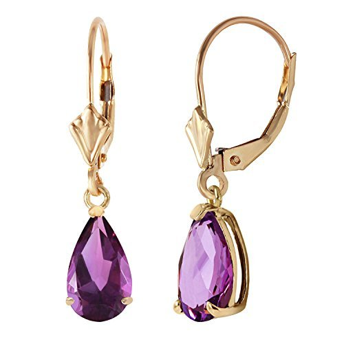 2.5 Carat 14k Solid Gold Leverback Earrings Amethyst by Galaxy Gold