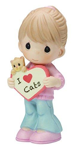 Precious Moments,  I Love Cats Bisque Porcelain Figurine 154046