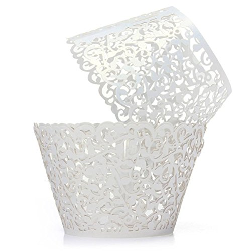 Saitec ® Pack of 60 Filigree Little Vine Lace Laser Cut Cupcake Wrapper Liner Baking Cup Muffin Case Trays Wedding Birthday Party Decoration (White)