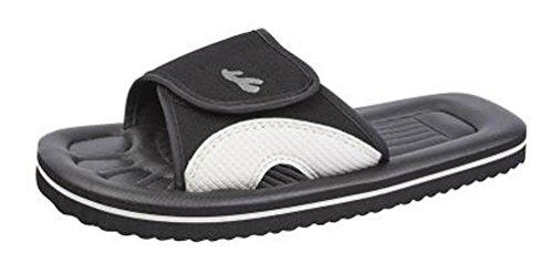 PDQ Mens Velcro Beach Sandals Flip Flops Black Navy Blue Black s79sY