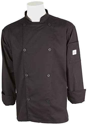 Mercer Culinary M61010BK5X Genesis Men's Chef Jacket with Traditional Buttons, 5X-Large, Black (Ladies Jacket Chefs Traditional)