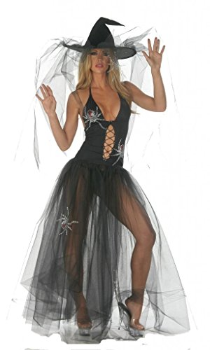 Nom de Plume, Inc Sexy Stretch Spider Witch Gown Costume With Hat Large (Sexy Spider Witch)