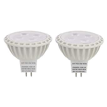 LEDwholesalers MR16 UL Listed 5-Watt (35W Equivalent) LED Spot Light with Interchangeable Wide Angle Flood Lens 12V AC/DC (2-Pack), Warm White, 1245WW