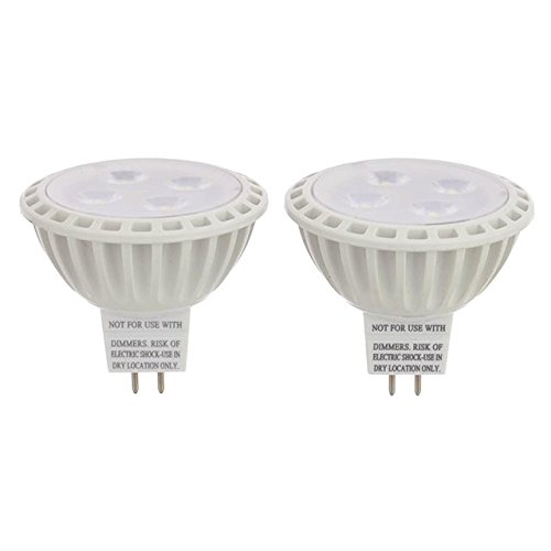 LEDwholesalers MR16 UL Listed 5-Watt (35W Equivalent) LED Spot Light with Interchangeable Wide Angle Flood Lens 12V AC/DC (2-Pack), Warm White, 1245WW (12v Ac Spot)