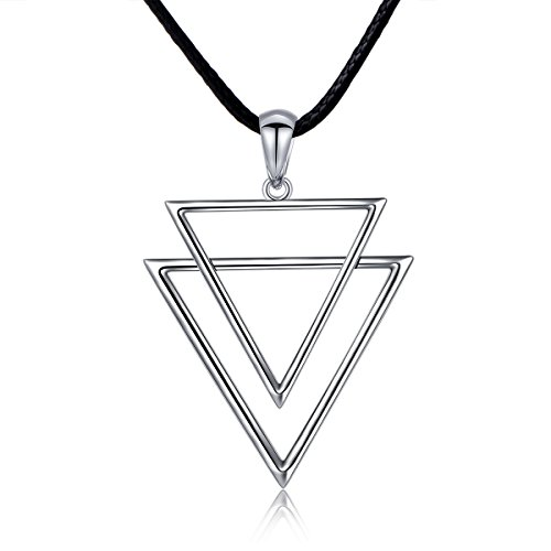 Men's Sterling Silver Cool Double Triangle Cords Simple Minimalism Arrow Pendant Necklace 24