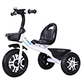 Xing Hua Shop Stroller Toys Children's Bicycle Tricycle 1-6 Years Old Children's Bicycle cart Children's Walker Front and Rear Basket Triangle Frame, Stable (Color : White, Size : 704562cm)