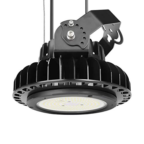 Adiding LED High Bay Warehouse Lighting, 150W (600W HID/HPS equivalent) UFO High Bay Light Fixture Lumileds LED Chips 19500 Lumens 5000K 1-10V Dimmable MeanWell Driver for Garage Workshop DLC UL Black - Bay Lighting Fixture