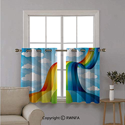 Window Treatments Short Curtains Tier for Kitchen,Rainbow Road Clouds Abstract Coonish Expression Natural Events Ribbon,for Kitchen Bathroom or Any Small Window,42