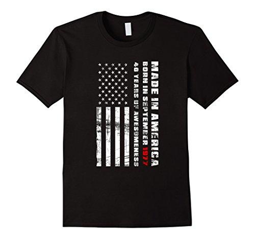 Mens American Flag   40Th Birthday Made In America September 1977 Large Black
