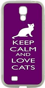 Rikki KnightTM Keep Calm and Love Cats Purple Color Design Samsung? Galaxy S4 Case Cover (White Hard Rubber TPU with Bumper Protection) for Samsung Galaxy S4 i9500
