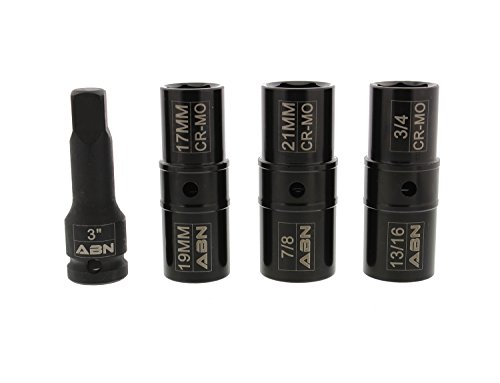 "ABN 1/2 Inch Drive Flip Lug Nut Impact Socket 4-Piece Set – Includes 17mm, 19mm, 3/4, 13/16"", 21mm, 7/8"" Sockets 3"" 1/2 Inch Drive Extension"