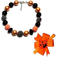 Cute Chunky Bubblegum Beads Necklace and Halloween Pumpkin Small Elf Hairbands Set for Kids Girls Women