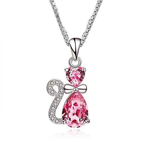 Mel Crouch Bling Swarovski Elements Crystal Cute Dog Cat Monkey Necklace Pendant 925 Sterling Silver (Pink Cat) (Silver Pink Crystal Pendant)
