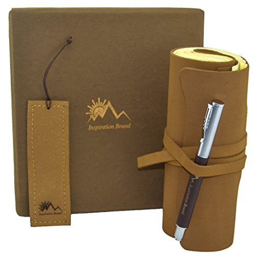 Inspiration Bound Handmade Leather Journal Gift Set - Pen and Bookmark, Rustic Soft Light Brown Cover, Unlined Cream Paper Crafted By Hand - To Write or Sketch, For Men, Women, and Teens from Inspiration Bound