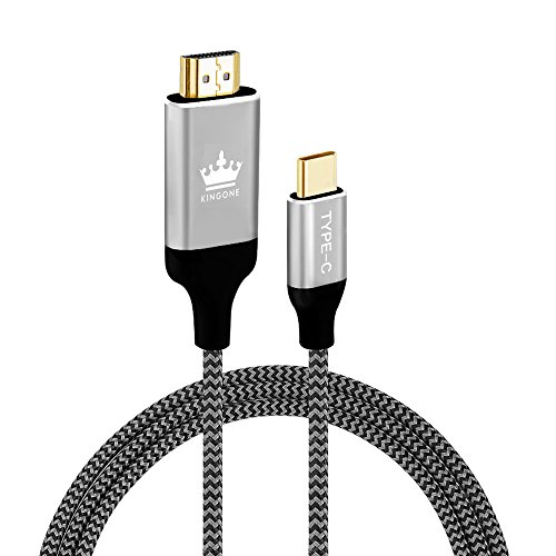 Price comparison product image USB C to HDMI,  KINGONE Braided 4K@60HZ USB Type C to HDMI Cable 6ft (Thunderbolt 3 Compatible) for 2017 / 2016 Macbook Pro,  2015 New Macbook,  2017 iMac,  Galaxy S8 / S8+,  LG G5,  Google Chromebook and More