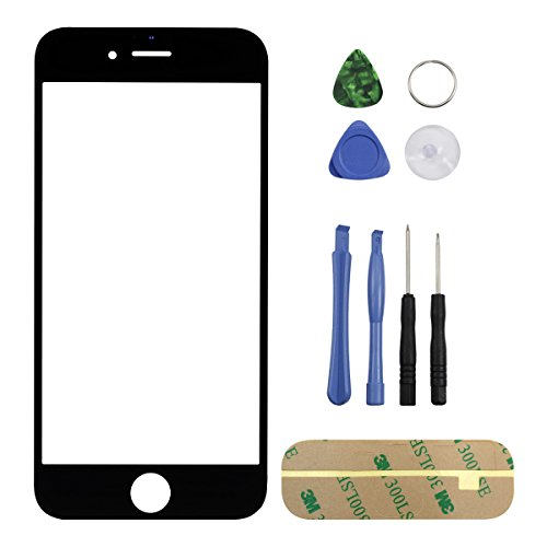 Replacement Display Touchscreen Front Screen Glass Lens Cover For iPhone 6 Plus 5.5'' With Tool Kit and Screen Protector Film (Black)
