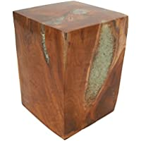 Deco 79 42018 Teak Resin Stool, 12 x 16