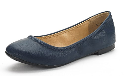 DREAM PAIRS Women's Sole Happy Navy Ballerina Walking Flats Shoes - 9 M US