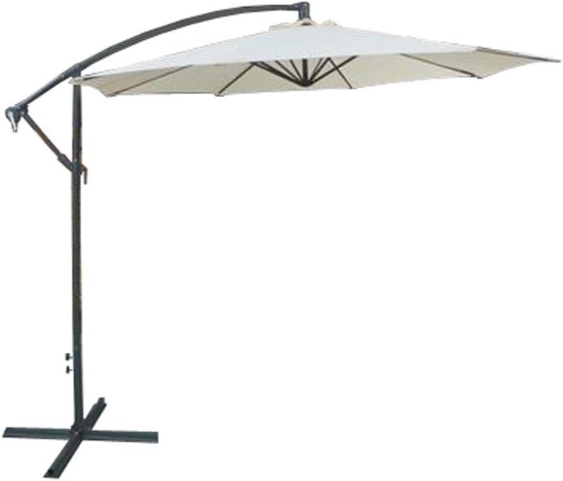 Greenbay Outdoor 3m Cream Cantilevered Garden Parasol Large Hanging Banana Umbrella with Crank Mechanism