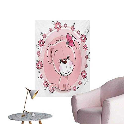 Anzhutwelve Dog Photographic Wallpaper Cute Little Puppy with Daisy Flowers Cheerful Adorable Domestic Pet GirlsPale Pink Coral White W32 xL36 Art Poster