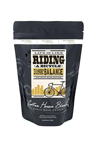 a Bicycle - Screenprint Style - Albert Einstein (8oz Whole Bean Small Batch Artisan Coffee - Bold & Strong Medium Dark Roast w/Artwork) ()