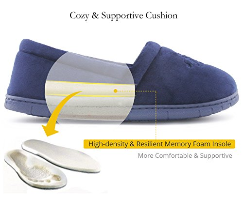 ULTRAIDEAS Womens Velvet Memory Foam Closed Back Slippers Lightweight Anti-Slid Embroidery Ballerina House/Office Shoes Navy Blue bf4Bh0ktY