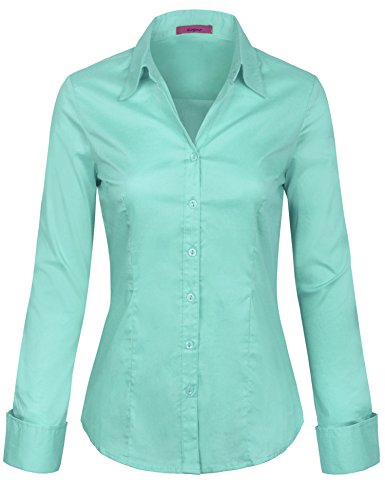 Blouse Mint - KOGMO Womens Long Sleeve Button Down Shirts Office Work Blouse (S-3X)-XL-Mint