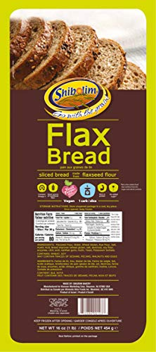 Shibolim FlaxSeed Bread (1 Pound) Low Carb, Only 1 Net Carb Per Serving, Keto Friendly, Rich in Fiber & Protein, No Added Sugar, Vegan, Certified Kosher, Contains Omega 3, Dairy Free , Zero Grams of Sugar