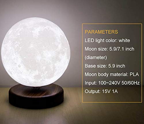 LEVILUNA 7.1'' /16 Colors Magnetic Levitating Moon lamp, 3D Seamless Printed &Touch Control, Magic Night Light, Creative Gifts for him, Best Business for Your Customer (7.1''/16colors) by Zeegine (Image #5)
