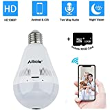 Light Bulb Camera 360° Full View Wireless Security Camera - Aibole LED Security 360 Camera Bulb 1080p HD Night Vision Remote Monitor with IOS & Android App - Include 32GB Micro SD Card