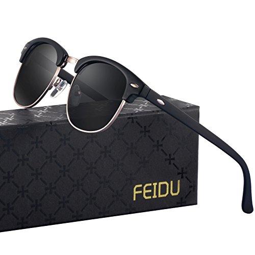 FEIDU Retro Polarized Mens Sunglasses for Men Half Metal Women FD3030 (C-black-matte, 2.04) ()