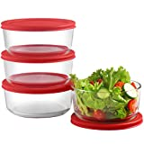 Glass Food Storage Containers with Red Airtight Lids 24oz (Set of 4)   6 x 2.5 Inch Small Round Mixing Bowls for Meal Prep, Leftovers, Baking, Cooking & Lunch   BPA-Free Kitchen Items