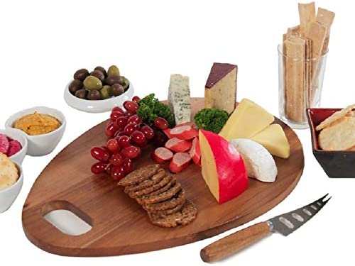 Amazon Com Large 16 X 12 Acacia Wood Charcuterie Board Cheese Board And Knife Set In Gift Box Serving Platter Grazing Plate Reversible Cutting Board Kitchen Decor Kitchen Dining