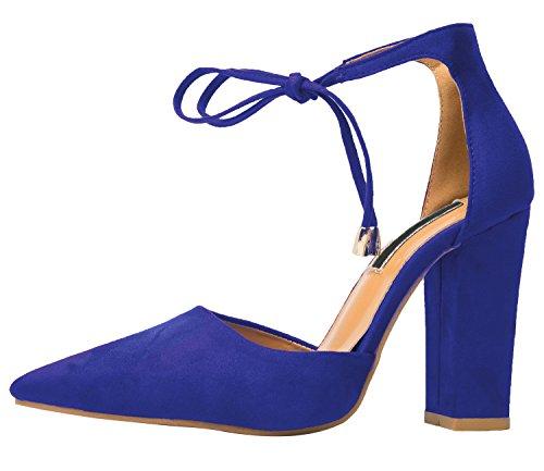 Dedo del pie puntiagudo Sandalias Mujer de BIGTREE Chunky Tacón alto Cordones Vestir Sandalias Azul