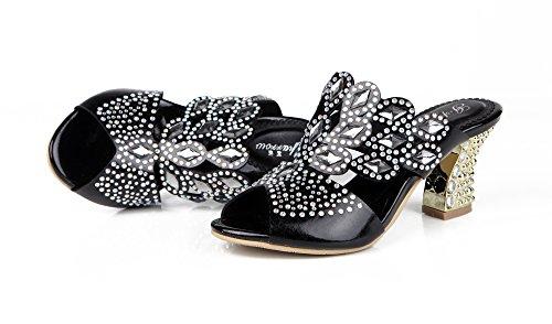 Honeystore Neuheiten Frauen Lackleder Quadrat Absatz Sandalen Blumen Pantoffel mit Strass Schuhe Schwarz