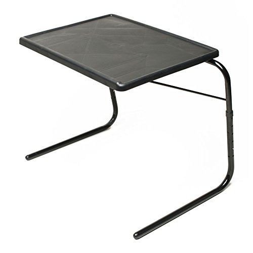 Table Mate V TV Tray Extra Large Folding Wheelchair and Overbed Table Adjustable to 6 Heights, 3 Angles for Multipurpose Use (Black)
