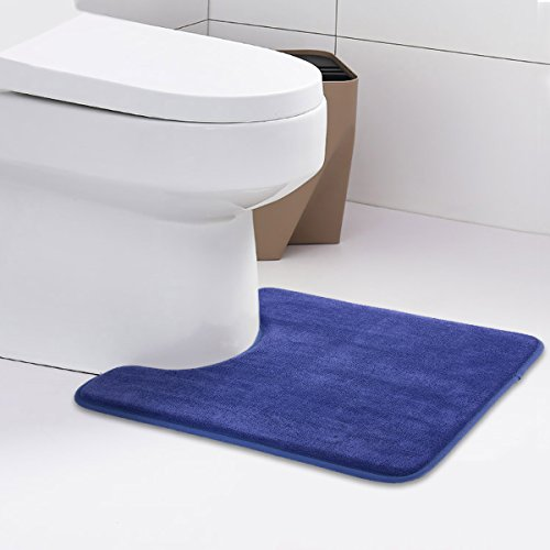 ITSOFT Memory Foam Bath Mat Non Slip Absorbent Super Cozy Velvet Toilet Contour Bathroom Rugs, Machine Washable, 19 X 24 Inch U-Shaped Royal Blue