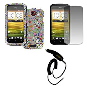 EMPIRE T-Mobile HTC One S Full Diamond Bling Hard Case Cover (Silver with Multi Colors) + Screen Protector + Car Charger [EMPIRE Packaging]