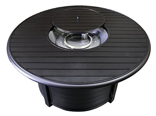 Hiland F-1350-FPT 42,000 BTU Extruded Aluminum Round Slate Top Propane Fire Pit, Large, Black (Round Slate Top Coffee Table)