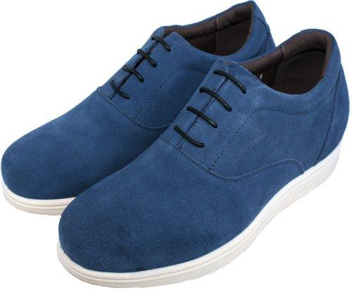 G-CALTO 51802-(3 7,62 cm, altezza Inches)-Tappetto aumentare ascensore-Scarpe da ginnastica colore blu-Scarpe da ginnastica in pelle scamosciata, con lacci