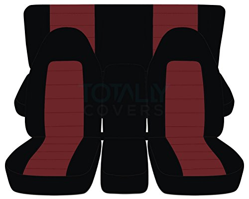 (Totally Covers Fits 1994-2002 (2nd Gen) Dodge Ram Two-Tone Truck Seat Covers (40/20/40 Split Front Bench & Solid Rear) w Center Console - Full Set: Black & Burgundy 1995 1996 1997 1998 1999 2000 2001)