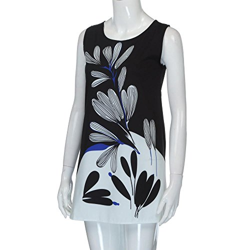 NREALY Women's Vintage Boho Summer Sleeveless Beach Printed Short Mini Dress Vestido(XL, Black) by NREALY (Image #1)