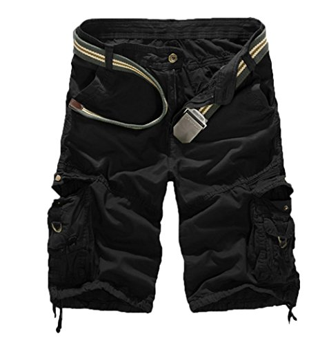 Hiwil Women's Casual Loose Fit Multi-Pockets Camouflage Twill Bermuda Cargo Shorts with Belt US 16 Black