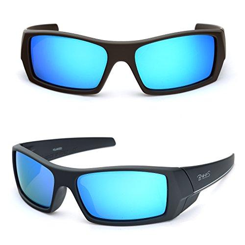 Bnus Sports shades Sunglasses polarized for men women Italian made Corning natural glass lens (Frame: Matte Black - White L / Lens: Blue Flash, - The Shade Sunglasses Made In