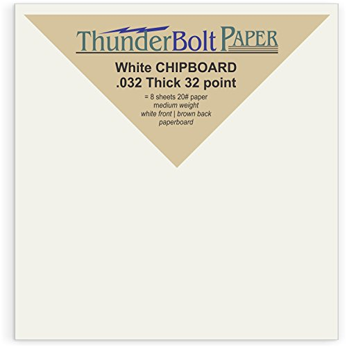 1000 Sheets Chipboard 32pt white 1 side - 4 X 4 Inches Small Square Card Size - Medium Weight Thickness PaperBoard .032 (point) Caliper White Coated on Brown Kraft Cardboard Paper by ThunderBolt Paper