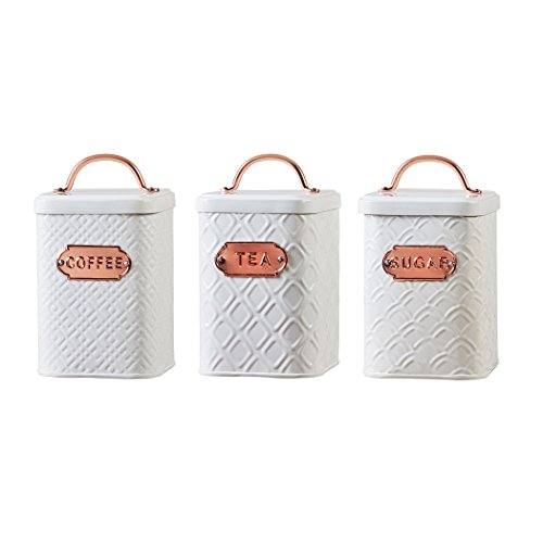 Amici Home, A5IP007AS3R, Ventana Collection Metal Storage Canisters, Food Safe, Copper Handle and Relief Label, Push Top Lid, Assorted Set of 3, 60 Ounces
