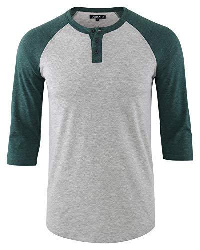 - DESPLATO Men's Casual Vintage 3/4 Sleeve Henley Baseball Jersey Knit T Shirts H.Gray/Dk.Green M